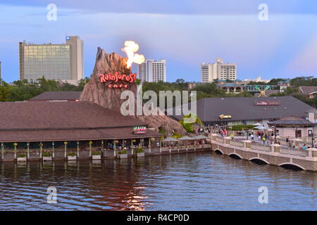Orlando, Florida. November 18, 2018 Beautiful scenery of Volcano with flare of fire, vintage bridge, hotels and outside market . - Stock Photo
