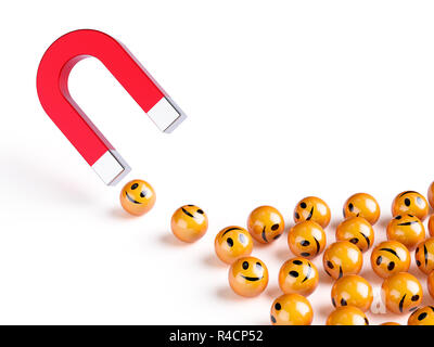 Horseshoe red magnet attracting smiles spheres. Happiness creativity concept. 3d rendering illustraiton isolated on white background - Stock Photo