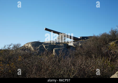 Artillery battery Landsort is one of the six ERSTA-batteries, which were some of the most important defence systems during the Cold War. - Stock Photo