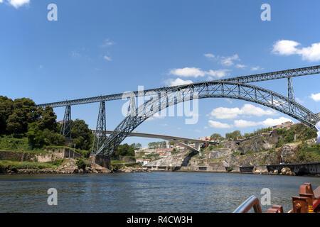 Maria Pia Bridge, also known as Dona Maria, over the River Douro at Porto. - Stock Photo