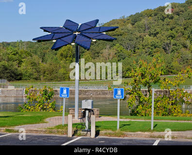 Solar Array, identified as a 'Solar Photovoltaic Flair', Electric Vehicle Charge Station,  Melton Hill Recreation Area. - Stock Photo