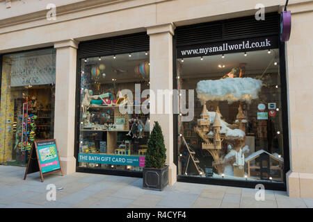 Christmas display in a shop window, My Small World toy store, Bath, Somerset, UK - Stock Photo