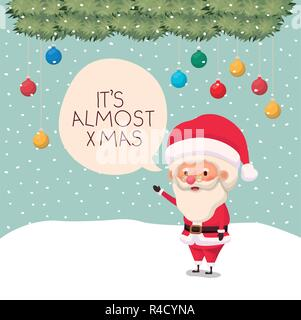 santa claus in snowscape with speech bubble - Stock Photo