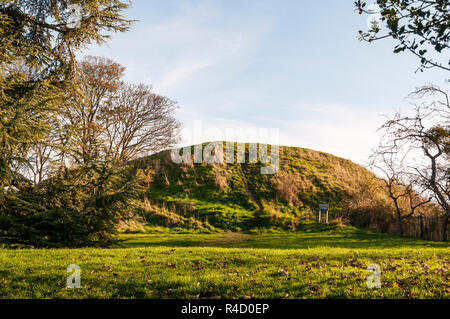 The 40 ft high motte is all that remains of William the Conqueror's Norman castle in Cambridge. - Stock Photo