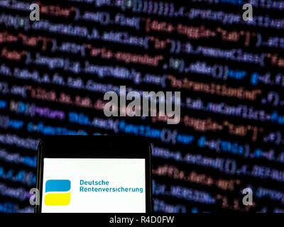 Deutsche Rentenversicherung logo seen displayed on smart phone. - Stock Photo