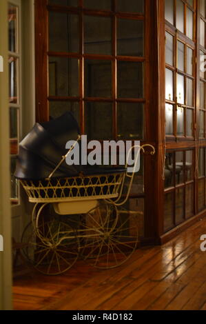 Baby Carriage 1950s. Interiors, Furniture, Vintage, Decoration. - Stock Photo