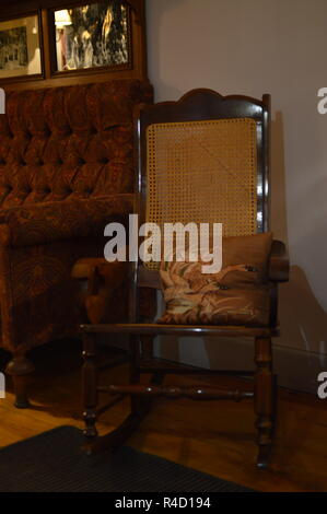 Rocking chair from the 50s. Interiors, Furniture, Vintage, Decoration. - Stock Photo