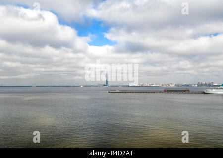 St. Petersburg, Russia - September 12 2018: Europe's tallest skyscraper, the Lakhta center on the coast of Gulf of Finland of the Baltic Sea in St.Pet - Stock Photo