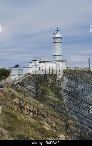 Faro Cabo Mayor lighthouse in Santander city - Stock Photo