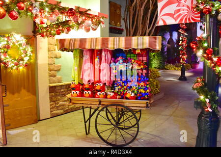 Orlando, Florida. November 19, 2018. European Style Car on Christmas Market background  in International Drive area. - Stock Photo