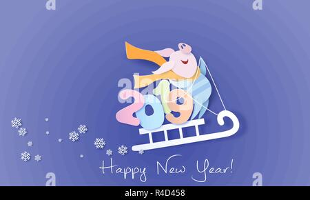 Color paper cut design and craft winter landscape with pig on sled with digits. Winter holidays and christmas design. Vector illustration. Happy New Year 2019 card. - Stock Photo