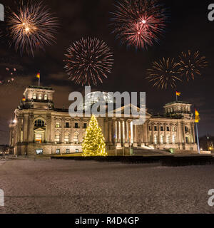 fireworks over bundestag in germany - Stock Photo