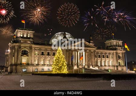 fireworks over bundestag in berlin - Stock Photo