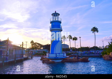 Orlando, Florida. November 19, 2018. Seaworld lighthouse on sunset background in International Drive area. - Stock Photo