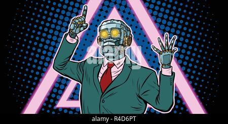 Cyberpunk 80s style. emotional speaker robot, dictatorship of ga - Stock Photo