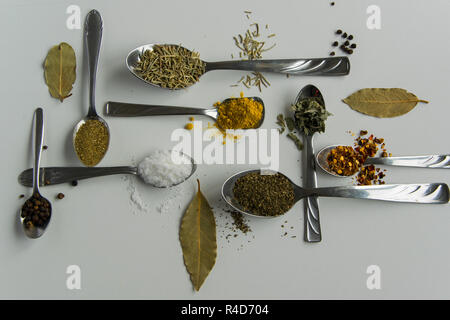 Top view of spoons with various aromatic herbs and spices on white background. Different flavouring condiment choice - Stock Photo