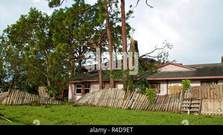 View of broken, blown over fence and broken tree tops after hurricane irma.  Tree has fallen on house. - Stock Photo