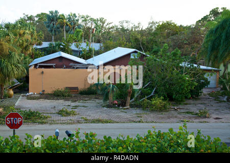 Looking down at vacant house after hurricane blew down trees and damaged roof and property - Stock Photo
