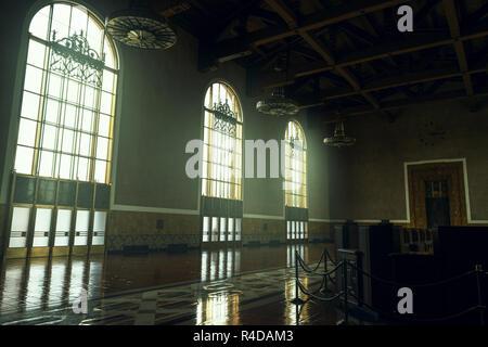 LOS ANGELES, USA - FEBRUARY 18, 2017: The restored art deco interior of Union Station - Stock Photo