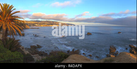 Panoramic sunset view of Main beach in Laguna Beach - Stock Photo