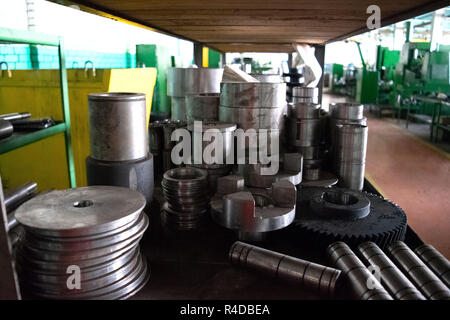 Spare parts, gears, for industrial machines for metal processing. Turning and milling work - Stock Photo