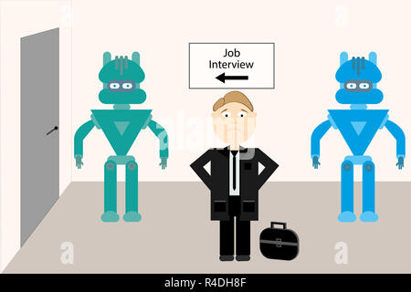Robots versus humans , job interview competition  illustration design. - Stock Photo