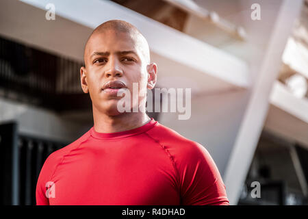 Face of a handsome nice young sportsman - Stock Photo