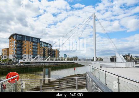 New swing bridge over Deptford Creek, Deptford, South East London UK - Stock Photo