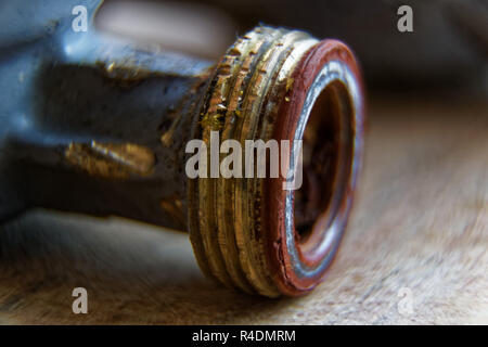 Pipe thread close-up, old rusty metal part of pipe threads. - Stock Photo