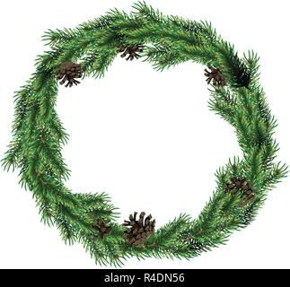 Christmas wreath of fir branches with cones. Green spruce christmas wreath. - Stock Photo