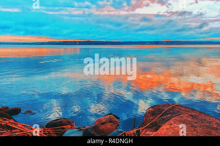 White Nights And  Bright Colors on the Lake Onega in Karelia - Stock Photo