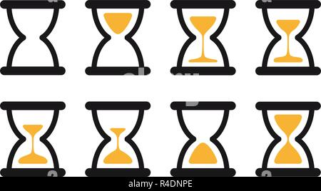 Set of hourglass sprites illustration for animation frames. Black sand clocks and timers collection on white background. - Stock Photo