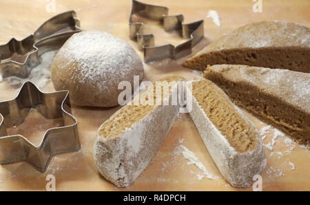 Christmas cake baking and pastry accessories and homemade dough prepared for baking - Stock Photo