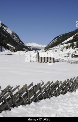 krimmler achrntal in winter - Stock Photo