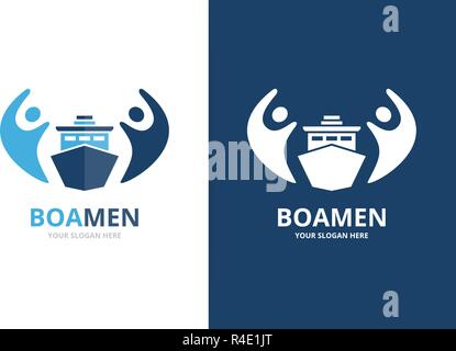 Vector ship and people logo combination. Boat and family symbol or icon. Unique yacht and team logotype design template. - Stock Photo