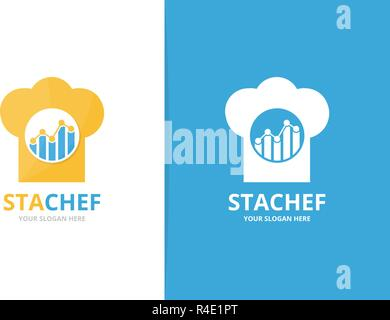 Vector graph and chef hat logo combination. Diagram and kitchen symbol or icon. Unique chart and cook logotype design template. - Stock Photo