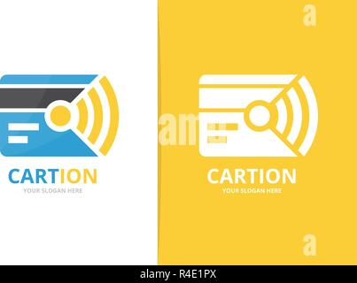Vector credit card and wifi logo combination. Gift and signal symbol or icon. Unique discount and radio logotype design template. - Stock Photo