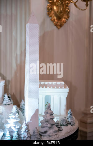 The 2018 White House Christmas decorations, with the theme 'American Treasures' which were personally selected by first lady Melania Trump, are previewed for the press in Washington, DC on Monday, November 26, 2018. The traditional White House gingerbread house on display in the State Dining Room. This year it shows the National Mall with the White House as it's centerpiece. The gingerbread Washington Monument is shown in this photo. Credit: Ron Sachs/CNP /MediaPunch - Stock Photo
