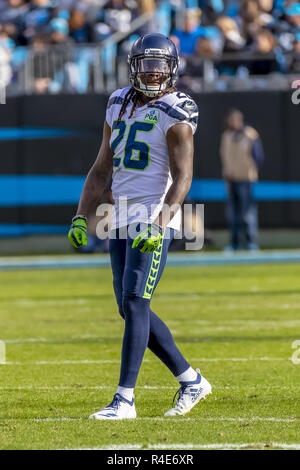 Charlotte, North Carolina, USA. 25th Nov, 2018. November 25, 2018 - Shaquill GRIFFIN (26) plays against the Carolina Panthers at Bank Of America Stadium in Charlotte, NC. The Panthers lose to the Seahawks, 30-27. (Credit Image: © Walter G Arce Sr Asp Inc/ASP) - Stock Photo