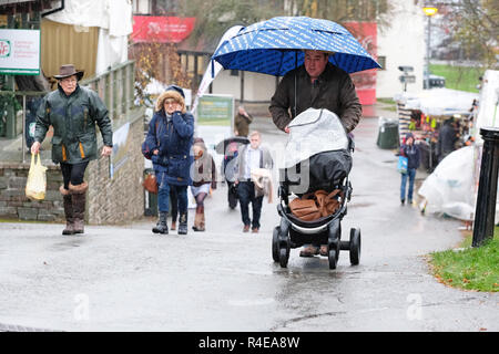 Royal Welsh Showground, Builth Wells, Powys, Wales - Tuesday 27th November 2018 - UK Weather - Visitors to the Royal Welsh Winter Fair battle rain and cold wind on the second day of the Winter Fair - Photo Steven May / Alamy Live News - Stock Photo