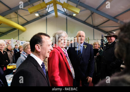 Royal Welsh Showground, Builth Wells, Powys, Wales - Tuesday 27th November 2018 - Prime Minister Theresa May tours the Royal Welsh Winter Fair as she starts her tour of the UK to sell her Brexit deal to the public across the UK - Credit: Steven May/Alamy Live News - Stock Photo