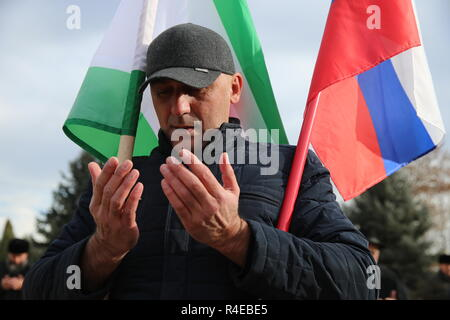 NAZRAN, RUSSIA - NOVEMBER 27, 2018: A Muslim Ingush man prays during a protest in the city of Nazran against a border agreement, which was signed by the leaders of Russia's Republic of Ingushetia and Russia's Chechen Republic in September 2018; the border hadn't been clearly defined since the break-up of the Chechen-Ingush Autonomous Soviet Socialist Republic in 1991; according to the new agreement, Ingushetia and Chechnya are to swap uninhabited territories in Chechnya's Nadterechny District and Ingushetia's Sunzha District; the leader of Ingushetia has referred the controversial border agree - Stock Photo