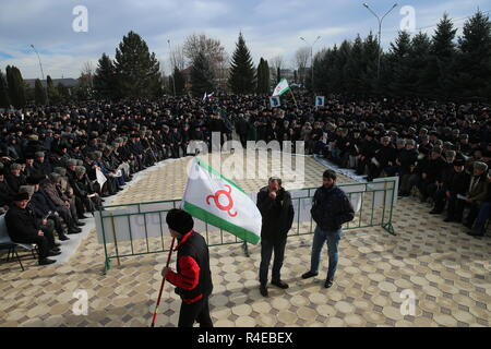 NAZRAN, RUSSIA - NOVEMBER 27, 2018: Ingush men are pictured during a protest in the city of Nazran against a border agreement, which was signed by the leaders of Russia's Republic of Ingushetia and Russia's Chechen Republic in September 2018; the border hadn't been clearly defined since the break-up of the Chechen-Ingush Autonomous Soviet Socialist Republic in 1991; according to the new agreement, Ingushetia and Chechnya are to swap uninhabited territories in Chechnya's Nadterechny District and Ingushetia's Sunzha District; the leader of Ingushetia has referred the controversial border agreeme - Stock Photo