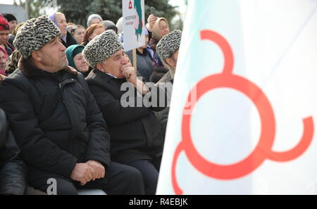 NAZRAN, RUSSIA - NOVEMBER 27, 2018: Ingush men in fur hats are pictured during a protest in the city of Nazran against a border agreement, which was signed by the leaders of Russia's Republic of Ingushetia and Russia's Chechen Republic in September 2018; the border hadn't been clearly defined since the break-up of the Chechen-Ingush Autonomous Soviet Socialist Republic in 1991; according to the new agreement, Ingushetia and Chechnya are to swap uninhabited territories in Chechnya's Nadterechny District and Ingushetia's Sunzha District; the leader of Ingushetia has referred the controversial bo - Stock Photo