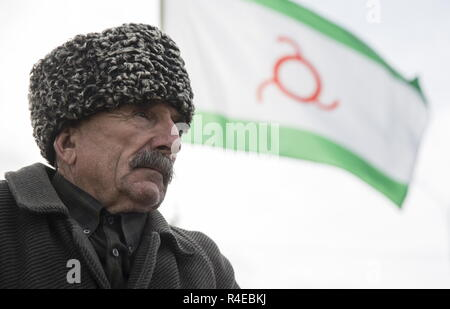 NAZRAN, RUSSIA - NOVEMBER 27, 2018: An Ingush man in a fur hat is pictured during a protest in the city of Nazran against a border agreement, which was signed by the leaders of Russia's Republic of Ingushetia and Russia's Chechen Republic in September 2018; the border hadn't been clearly defined since the break-up of the Chechen-Ingush Autonomous Soviet Socialist Republic in 1991; according to the new agreement, Ingushetia and Chechnya are to swap uninhabited territories in Chechnya's Nadterechny District and Ingushetia's Sunzha District; the leader of Ingushetia has referred the controversial - Stock Photo