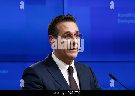 Brussels, Belgium. 27th November 2018.   Heinz-Christian STRACHE, Austrian Federal Minister for the Civil Service and Sport gives a press conference in the results of Sports Council. Alexandros Michailidis/Alamy Live News - Stock Photo