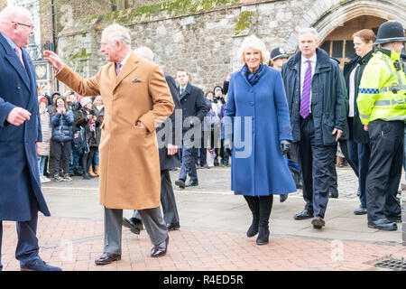 Ely, Cambridgeshire, UK. 27th Nov 2018. The Prince of Wales and The Duchess of Cornwall visit Ely Markets, meet stallholders and hear about the city's community initiatives to reduce single use plastic and combat homelessness. The market has been in existence for over 800 years and the Markets Team have won awards for sustainable local shopping and their mission to reducing single-use plastic on the market. Credit Julian Eales/Alamy Live News - Stock Photo
