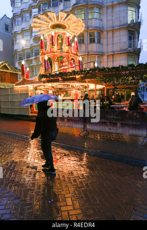 Birmingham, UK. 27th November, 2018. A late rainy afternoon makes the normally busy Birmingham German Christmas market a washout. Peter Lopeman/Alamy Live News - Stock Photo