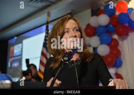 November 6, 2018 - Garden City, New York, United States - Congresswoman KATHLEEN RICE appears at event after winning re-election as New York's Representative for Fourth Congressional District. Nassau County Democrats watched Election Day results at Garden City Hotel, Long Island. (Credit Image: © Ann Parry/ZUMA Wire) - Stock Photo