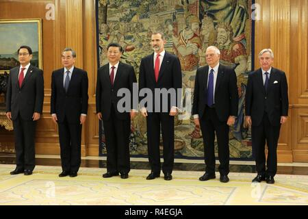 Madrid, Spain. 27th November, 2018. Spanish King Felipe VI meeting with China President Xi Jinping during his official visit to Spain at the ZarzuelaPalace in Madrid on Tuesday , 27 november 2018 Credit: CORDON PRESS/Alamy Live News - Stock Photo